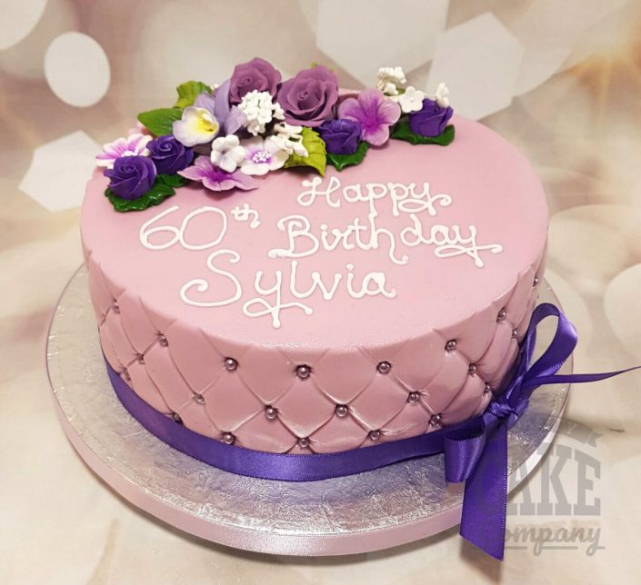 lilac purple floral quilted birthday cake - tamworth