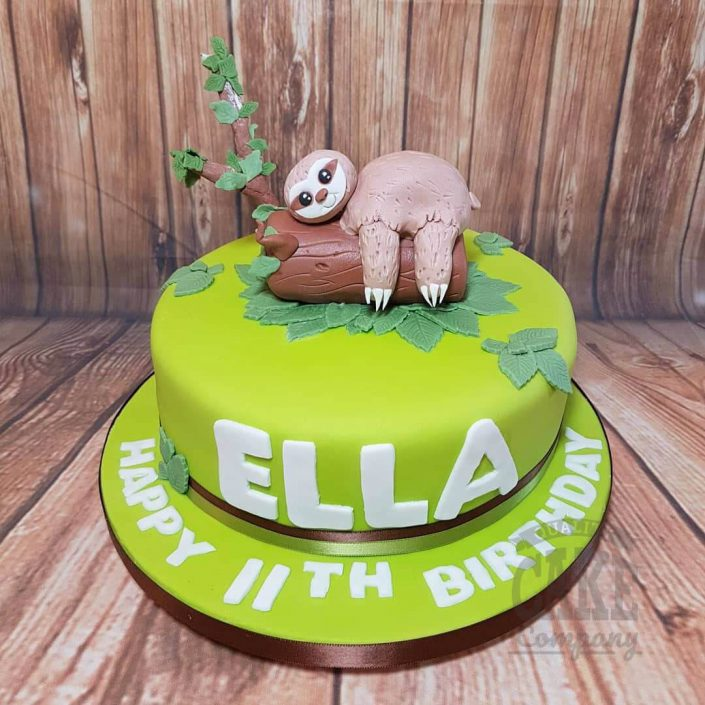 Sloth lying on a tree birthday cake - tamworth west midlands