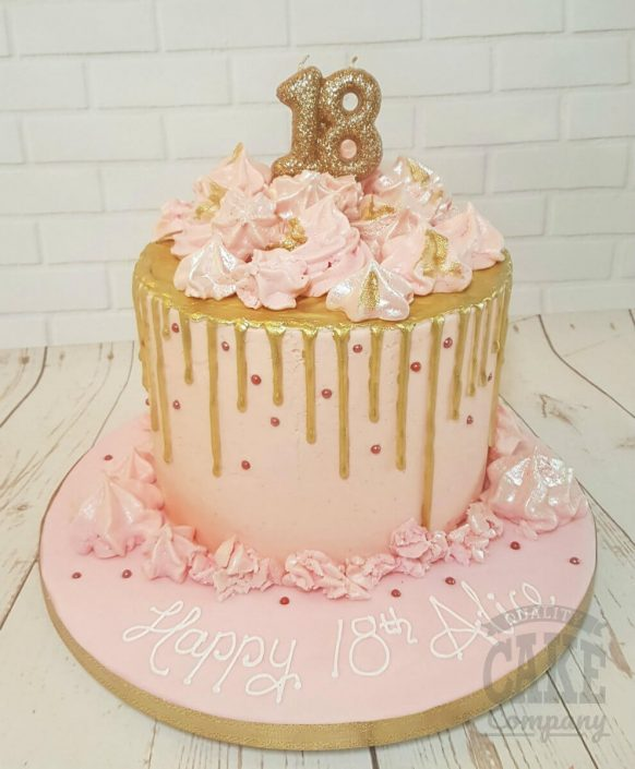 Pink and gold merignue drip cake - tamworth