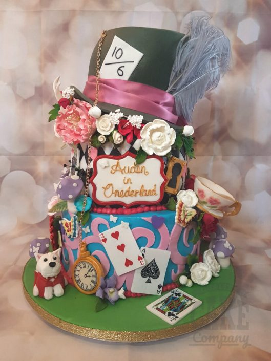 Three tier alice in wonderland mad hatter birthday cake - tamworth