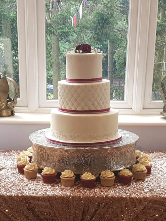 Simple three tier quilted wedding cake - tamworth West midlands