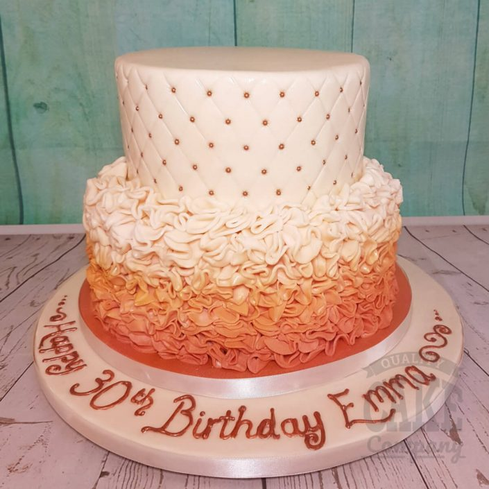 Two tier quilted ombre ruffles rose gold cake - tamworth
