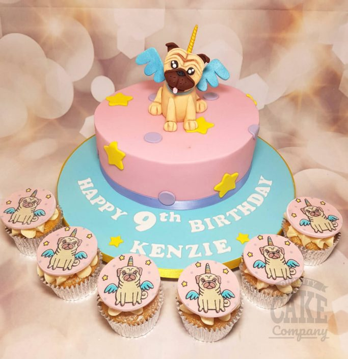 Uni pug cake and cupcakes - Tamworth west midlands