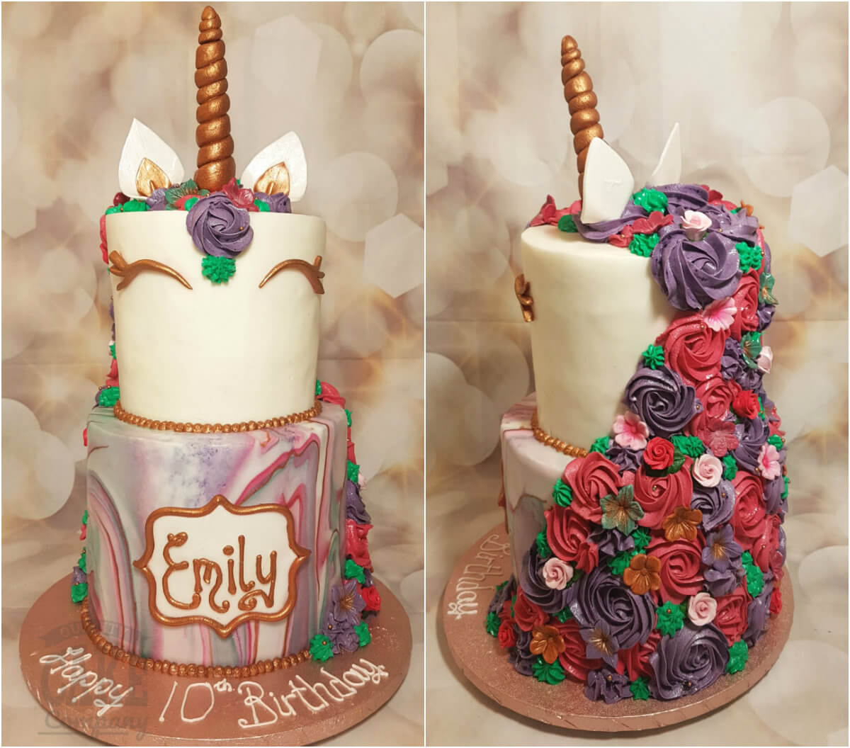 Two Tier Teal Purple Rose Gold Unicorn Birthday Cake