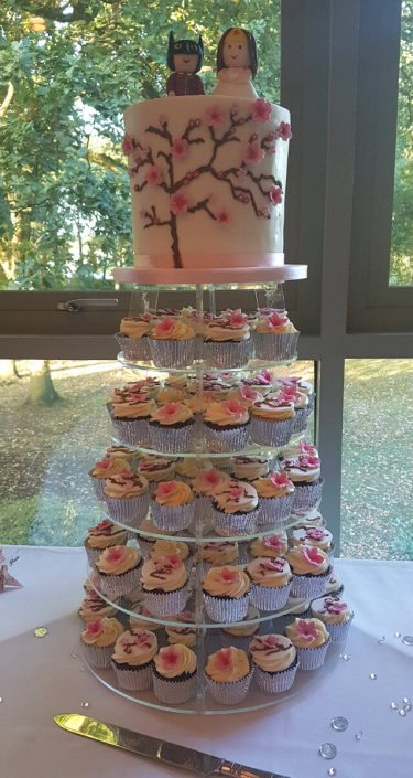 Cherry blossom wedding cake & cupcakes with superhero cake toppers - Tamworth west midlands