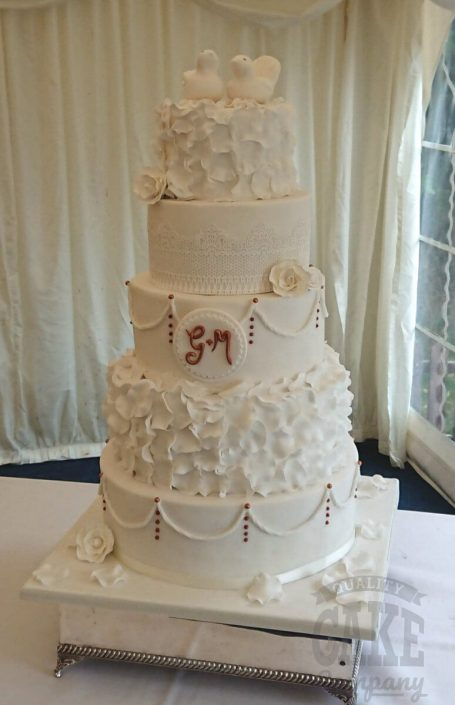 Five-tier ruffle wedding cake - white, rose gold, ruffles - Tamworth WEst Midlands