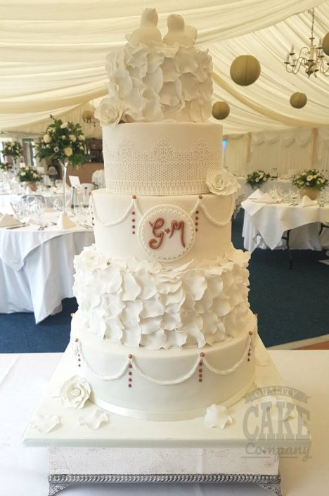 Five tier wedding cake - white, rose gold, ruffles - Tamworth WEst Midlands