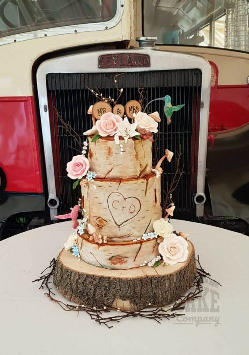 Three tier silver birch tree hummingbirds rustic wedding cake - Tamworth west Midlands