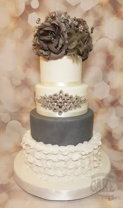 Four tier stunning silver ruffle bling wedding cake - Tamworth West Midlands