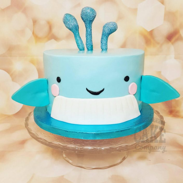 Blue whale simple children's birthday cake - Tamworth