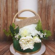 Three tier green ombre floral hoop circle wedding cake - Tamworth West Midlands