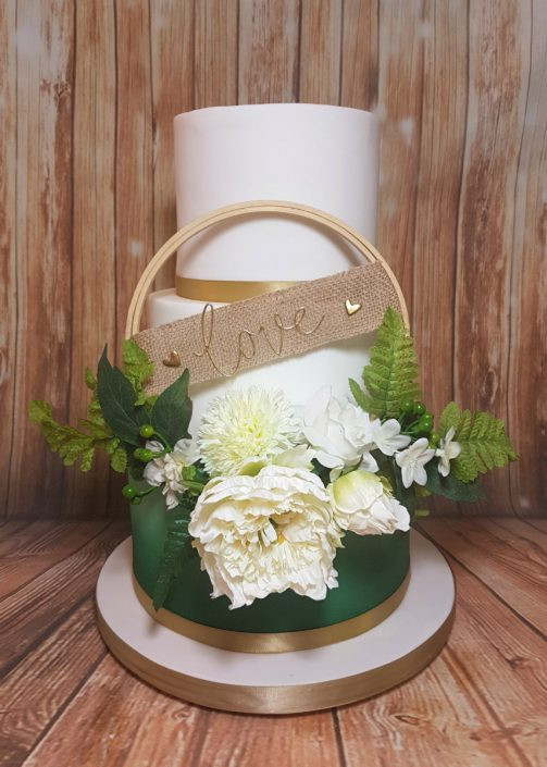 Three tier green ombre floral hoop circle modern wedding cake - Tamworth West Midlands