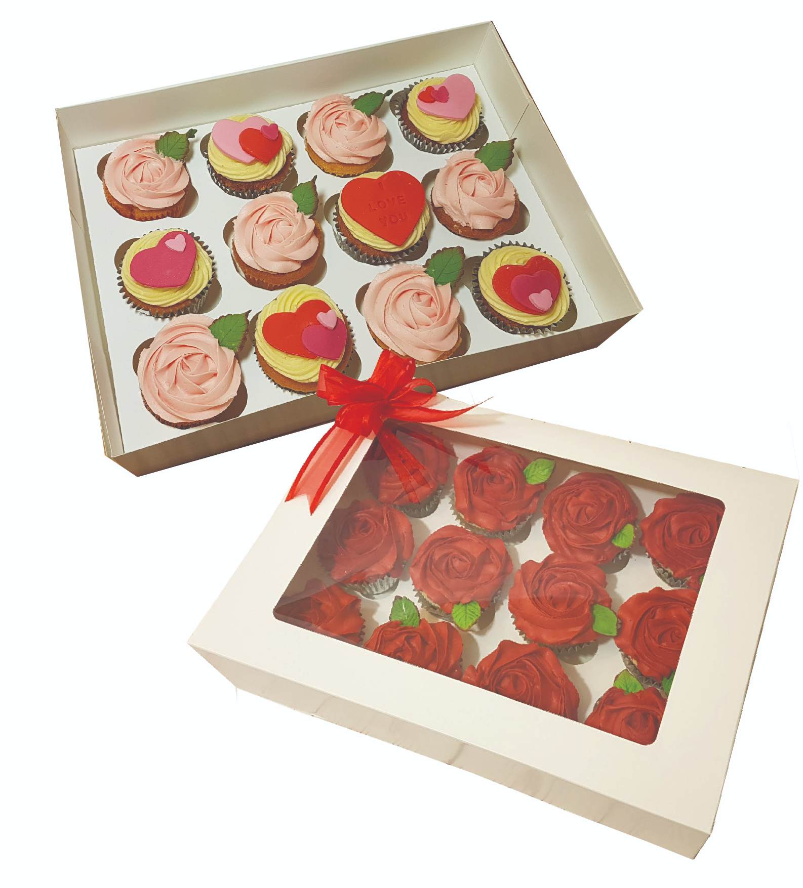 Valentine's Day love heart red rose cupcakes - Tamworth