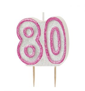 80th birthday pink candle