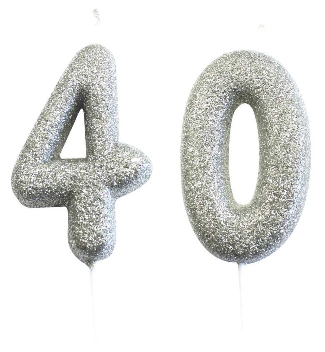 40th birthday silver candle