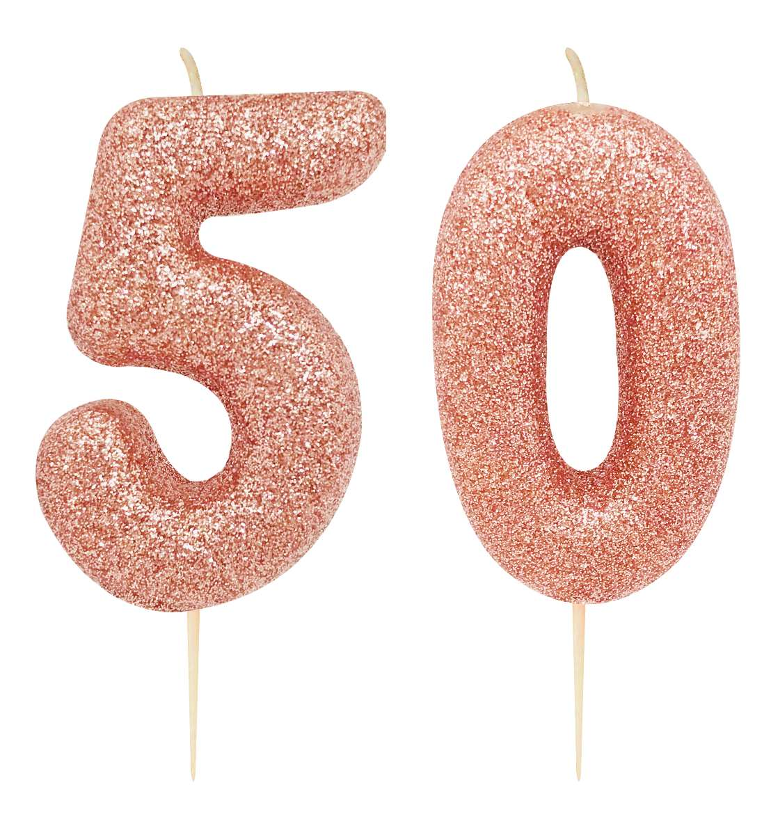 50th birthday rose gold candle