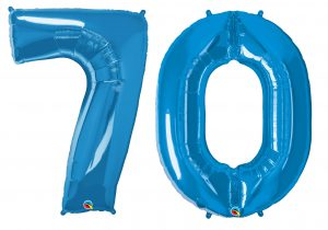 70th birthday blue large number helium ballooons - Tamworth, West Midlands