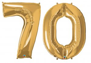 70th birthday gold large number helium ballooons - Tamworth, West Midlands