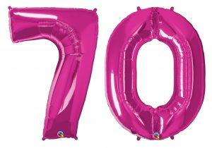 70th birthday pink large number helium ballooons - Tamworth, West Midlands