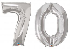 70th Birthday Silver Large Number Helium Ballooons