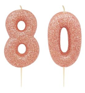 80th birthday rose gold candle