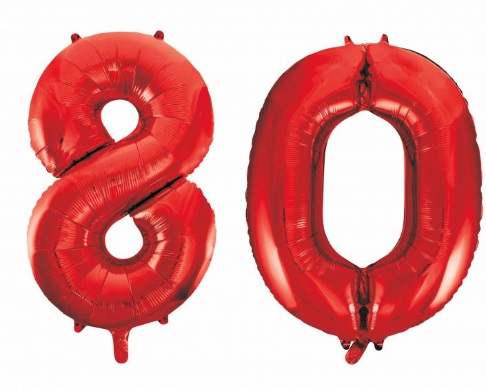 80th birthday red large number helium ballooons - Tamworth, West Midlands