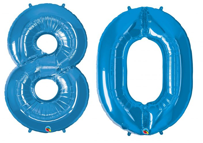 80th birthday blue large number helium ballooons - Tamworth, West Midlands
