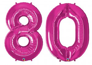 80th birthday pink large number helium ballooons - Tamworth, West Midlands