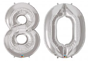 80th Birthday Silver Large Number Helium Ballooons
