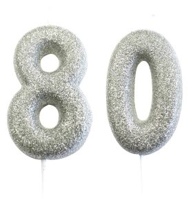 80th birthday silver candle