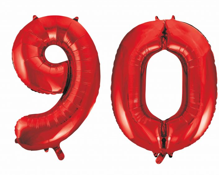 90th birthday red large number helium ballooons - Tamworth, West Midlands
