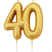 40th birthday gold candle