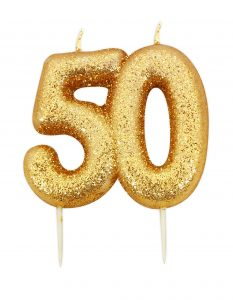 50th birthday gold candle