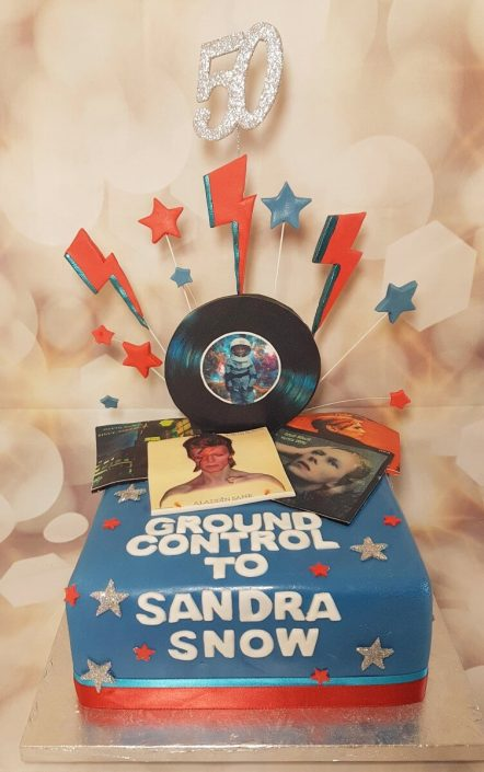Bowie fan cake with record album covers - tamworth