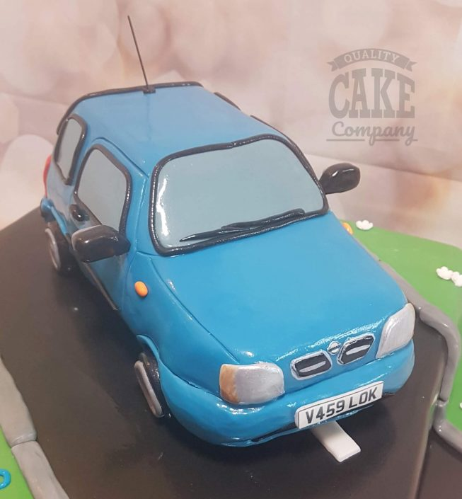 Blue nissan micra sculpted novelty cake - Tamworth west midlands