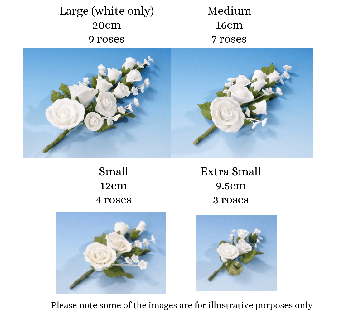 Rose spray size guide flower icing cake decorations - Tamworth West Midlands