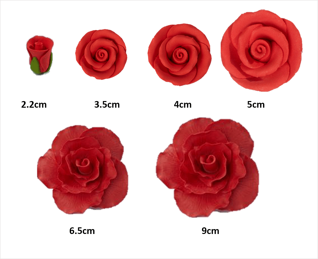 rose head sizes flower icing cake decorations - Tamworth West Midlands