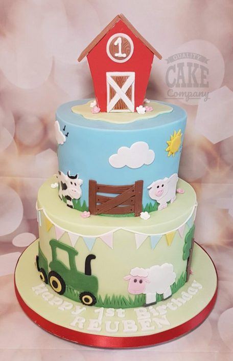 Two tier farm animals theme birthday cake - Tamworth West Midlands