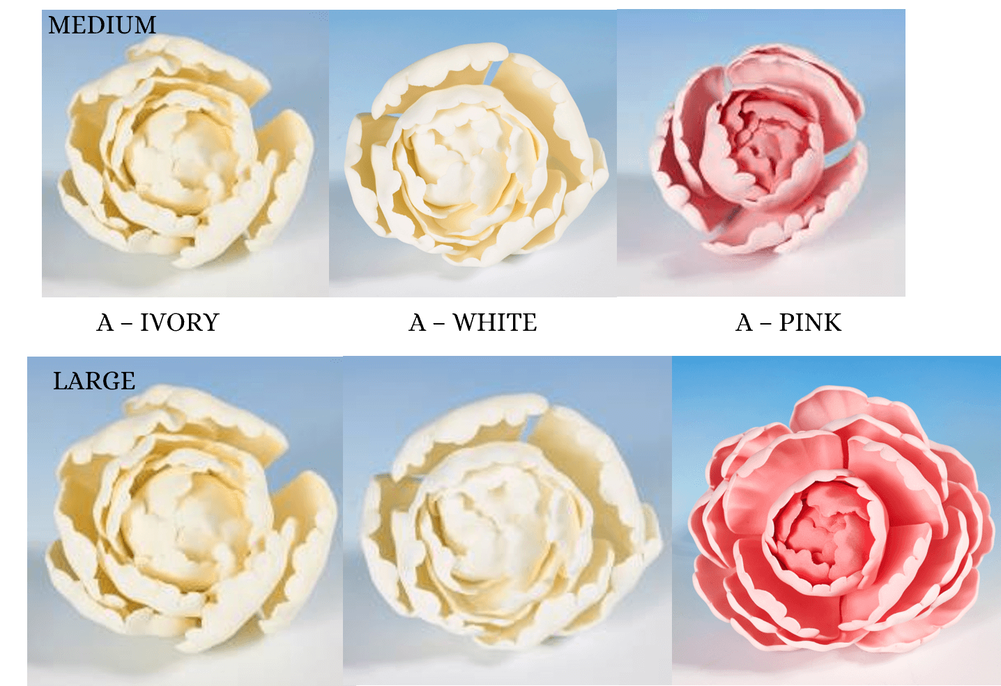 Peony heads flower icing cake decorations - Tamworth West Midlands