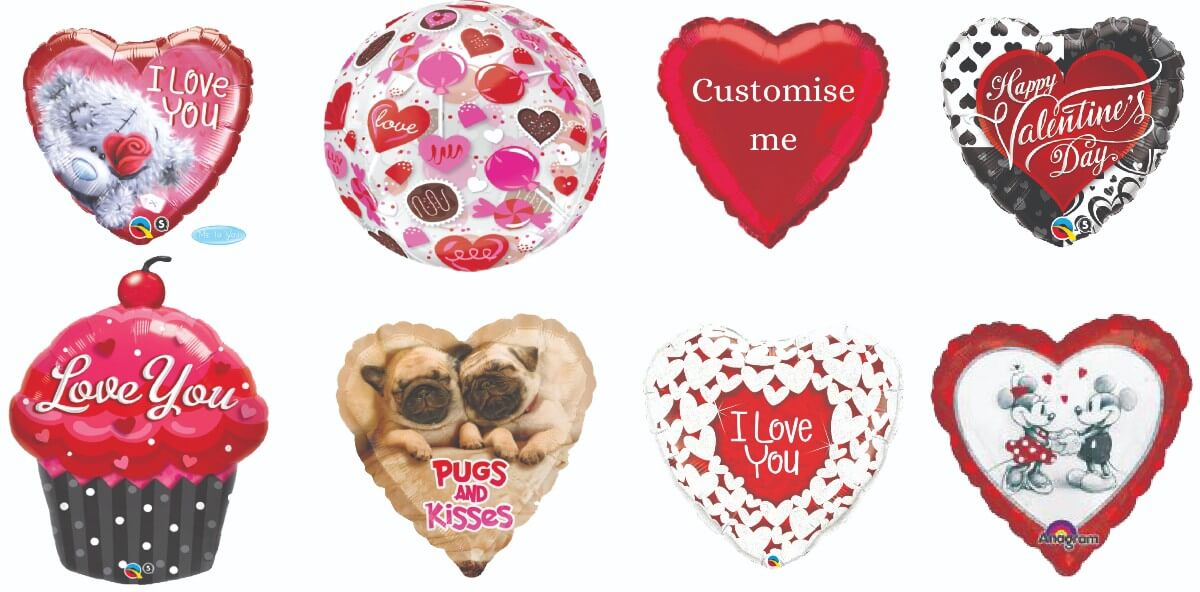 selection of Valentine's Day balloons - tamworth