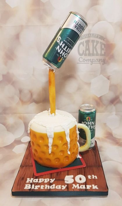 Pouring beer into glass novelty cake - tamworth