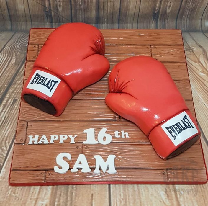 Boxing gloves red novelty birthday cake - tamworth