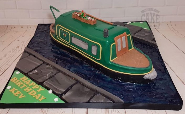 Canal boat barge green novelty cake - tamworth west midlands