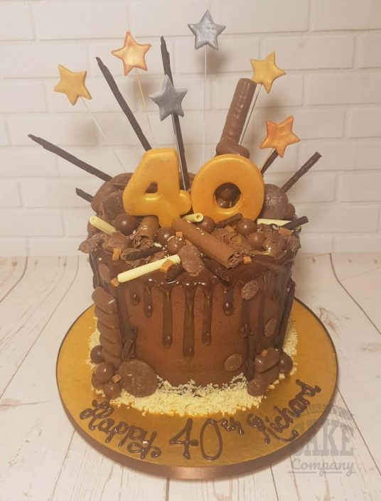 Chocolate drip cake gold stars - Tamworth West Midlands