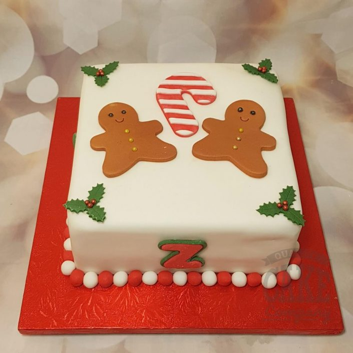 Gingerbread man people candy cane christmas cake - Tamworth