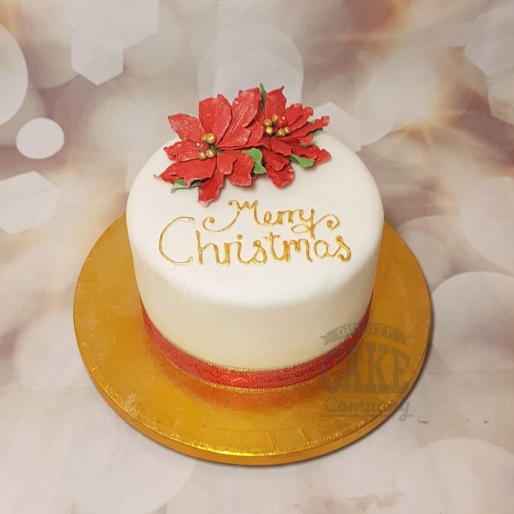Red poinsettia christmas cake - Tamworth west midlands