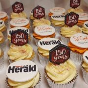 Corporate cupcakes for Tamworth Herald 150th birthday - Tamworth West Midlands