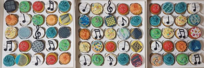 Music and texture design theme cupcakes - Tamworth