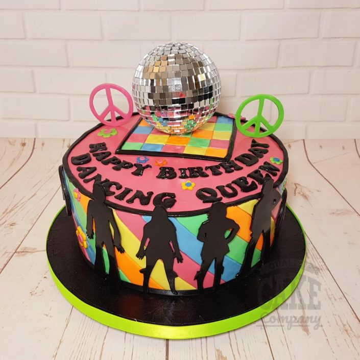 ABBA disco ball dancing queen 70s theme cake - Tamworth