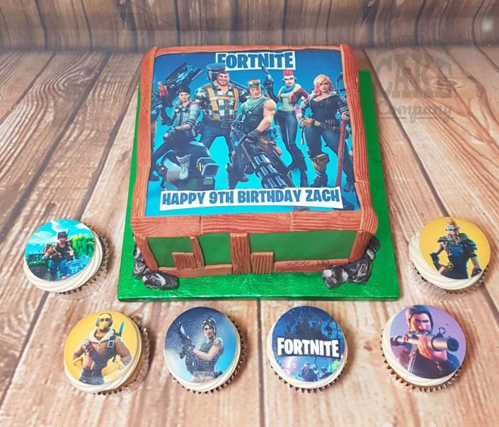 Fortnite photo cake and cupcakes - tamworth